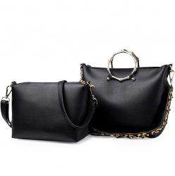Metal Ring Handbag with Crossbody Bag