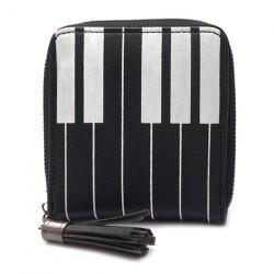 Piano Print Tassel Coin Purse - BLACK