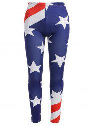 Plus Size American Flag Print Leggings - MULTI