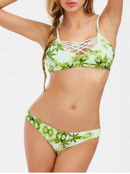 Leaf Print Crossback Bikini Set
