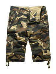 Zipper Fly Pockets Camo Cargo Shorts - YELLOW