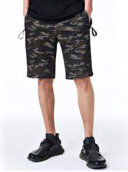 Zip Pockets Drawstring Camo Shorts