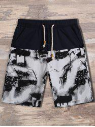 Drawstring Waist Printed Pocket Shorts