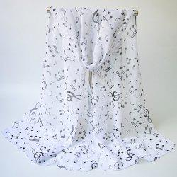 Lightsome Tiny Musical Notes Printing Chiffon Scarf - WHITE