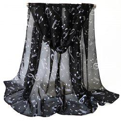 Lightsome Tiny Musical Notes Printing Chiffon Scarf - BLACK
