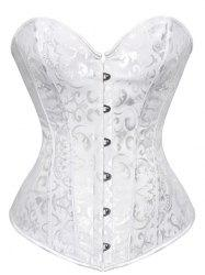 Lace Up Jacquard Steel Boned Corset - WHITE