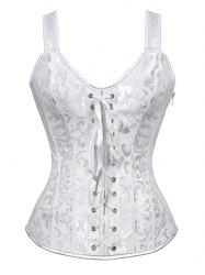 Jacquard Lace Up Vintage Corset Vest - WHITE