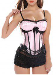 Lace Panel Criss Cross Corset Bra with Bowknot - PINK S