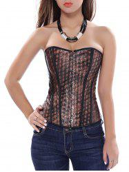 Criss Cross Skulls Graphic Corset