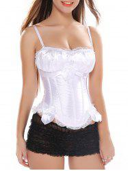 Lace Panel Criss Cross Corset Bra with Bowknot