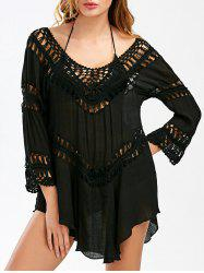 Crochet Panel Swing Beach Tunic Cover Up -