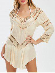Crochet Panel Swing Beach Tunic Cover Up - LIGHT KHAKI