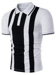 Color Block Vertical Stripe Panel Polo T-Shirt