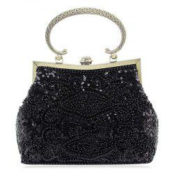 Metal Trim Sequins Beaded Evening Bag