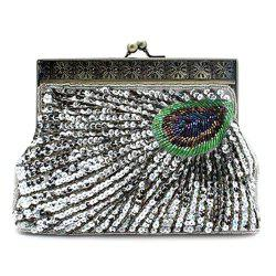 Kiss Lock Sequins Beaded Evening Bag