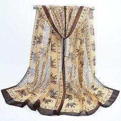 Totem Elephant Printing Bohemian Chiffon Scarf - COFFEE AND BLACK