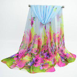 Fine Gauze Spring Blossom Printing Ombre Shawl Scarf - WINDSOR BLUE