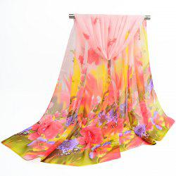 Fine Gauze Spring Blossom Printing Ombre Shawl Scarf