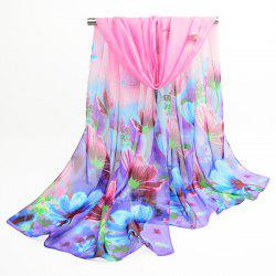Chiffon Blooming Flowers Printing Shawl Scarf - BLUE AND PINK