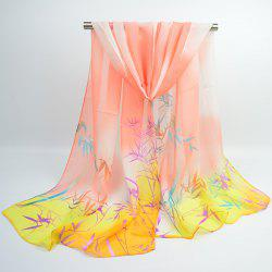 Bamboo Printing Ombre Chinoiserie Shawl Scarf - ORANGE YELLOW