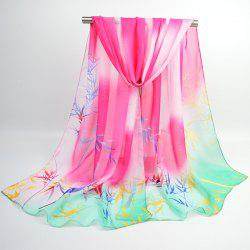 Bamboo Printing Ombre Chinoiserie Shawl Scarf