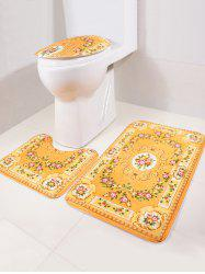 3Pcs Europe Bath Floor Rug and Toilet Lid Mat Set -