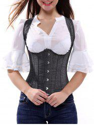 Steel Boned Lace Up Tank Corset - DEEP GRAY