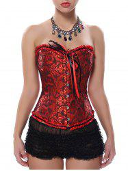 Lace Up Underbust Steel Boned Corset - DEEP RED S