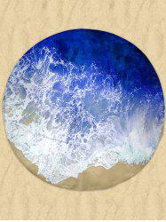 Milk Silk Fabric Round Beach Throw with Sea Tides Print