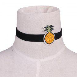 Pineapple Fruit Embroidery Velvet Choker Necklace