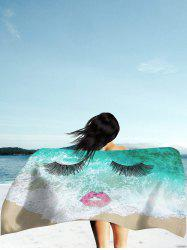 Sea Tide Red Lip Eyelashes Beach Throw - GREEN