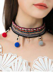 Ethnic Braid Embroidery Leaf Ball Choker Necklace