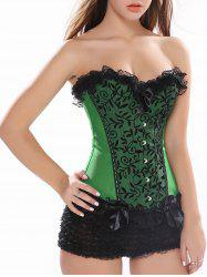 Lace Up Lace Insert Waist Cincher Corset