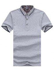 Striped Trim Half Button Golf Shirt