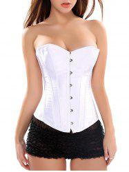Seamed Strapless Lace-Up Corset Bra - WHITE