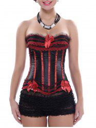 Zippered Laced Lace-Up Corset - RED WITH BLACK