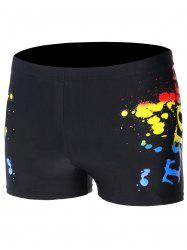 Drawstring Splatter Paint Swimming Trunks