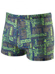 Graphic Printed Drawstring Swimming Trunks