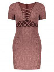Criss Cross Mini Knit Bodycon Dress
