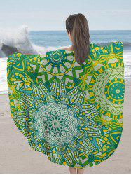 Mandala Print Milk Silk Fabric Round Beach Throw