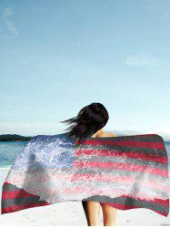 Patriotic Flag and Sea Tide Print Rectangle Beach Throw -