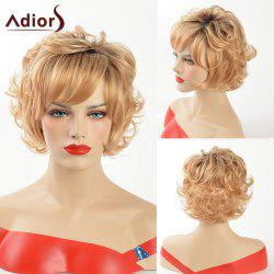 Adiors Dark Root Short Curly Side Bang Synthetic Hair - COLORMIX