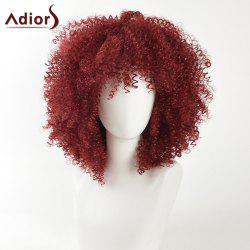 Adiors Medium Fashion Shaggy Afro Kinky Curly Synthetic Hair - WINE RED