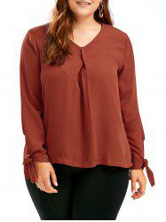 Tie Sleeve Chiffon V Neck Plus Size Top