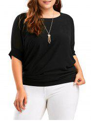 Plus Size Chiffon Dolman Sleeve Top