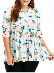 Floral Cherry Printed Plus Size Smock Top