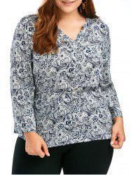 Belted Porcelain Printed Plus Size V Neck Blouse