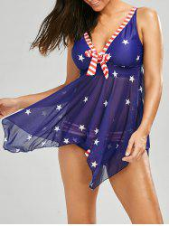 Asymmetrical American Flag Patriotic Skirted Tankini Bathing Suit - DEEP BLUE