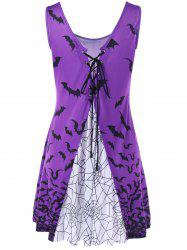 Bat Print Lace Up Tank Dress