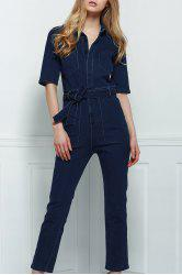 Stylish Denim Patch Pocket Flared Women's Jumpsuit